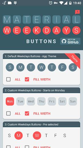 Material Weekdays Buttons Bar