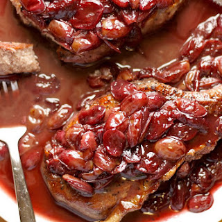 Pork Chops with Red Wine and Grape Sauce.