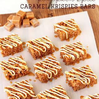 Pumpkin Spice Caramel Krispie Bars.