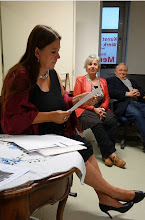 Photo: Lesung Angelika Ditha-Morosowa und Finissage Athina T./ Lior Hatzis am 13.5.2014. Foto: Peter Skorepa- Morosowa bei der Lesung