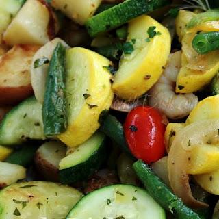 Garden Vegetable Skillet with Shrimp.