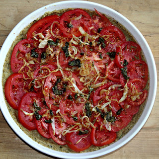 Tomato Tart with Caramelized Onions and Quinoa Pesto Crust