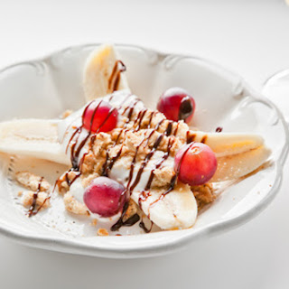 Banana Split With Yogurt, Biscuits And Grapes