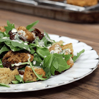 "Southern Fried Chicken & ""Corn"" Bread Salad with Ranch Dressing"