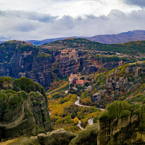 by Nikos Diavatis - Landscapes Mountains & Hills ( cloud formations, clouds, mountains, meteora, monastery, greece )