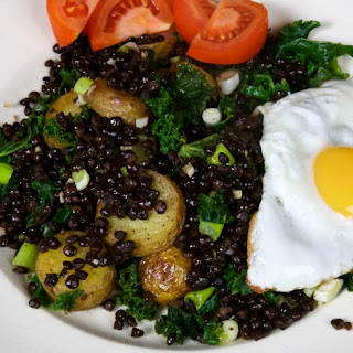 Black Beluga Lentils with Kale and Eggs.