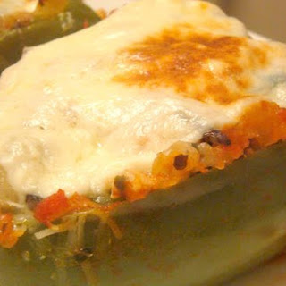 Stuffed Bell Peppers With Ground Turkey and Wild Rice.