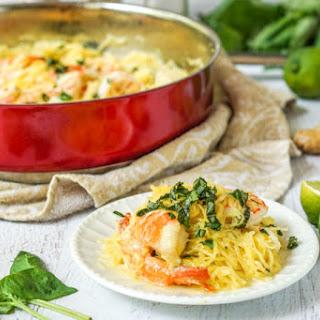 Coconut Basil Shrimp Spaghetti Squash.