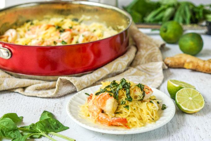 Coconut Basil Shrimp Spaghetti Squash Recipe