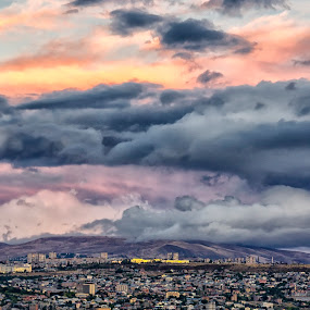 Yerevan After Storm by Amir Kh - Landscapes Sunsets & Sunrises ( sky, nikon d, yerevan, city, armenia, photo, clouds, red, nikon, sunset, cloudscape, cityscape, photographer, photography,  )