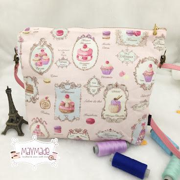 ‼️清貨‼️粉紅色甜點拉鏈袋配可調較斜背帶