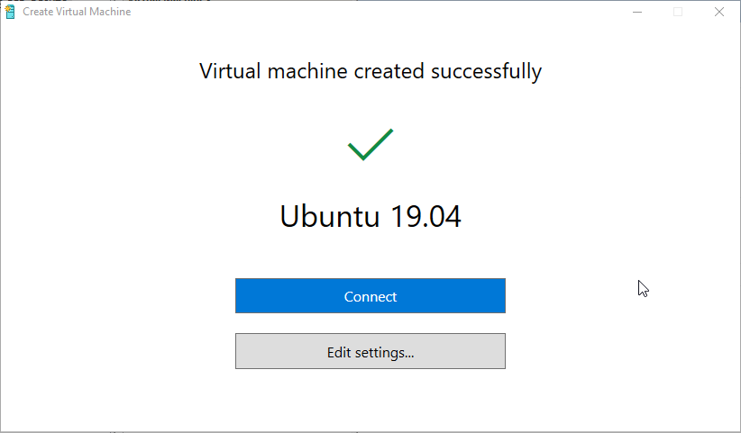 Hyper-V ubuntu - Connect