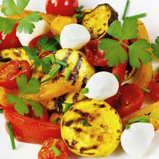 Grilled Vegetables With Mozzarella Cheese.