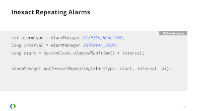 Photo: Use inexact repeating alarms to let the framework phase-shift alarms so they are executed at the same time as other apps.