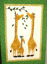 Photo: Sandy Collier - Rouge Valley Quilter's Guild, Scarborough, Ontario, Canada. Sandy's used the Mom and Baby from HBH106 Mom & Me-Baby Steps and shortened the Mom slightly added a taller giraffe for the Dad as a gift for a friend having a new baby. How creative.