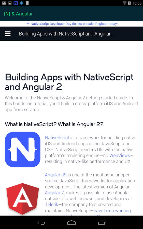 NativeScript Developer App- screenshot