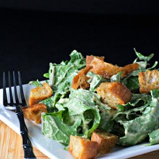 Vegan Kale Ceasar Salad With Garlic Crutons