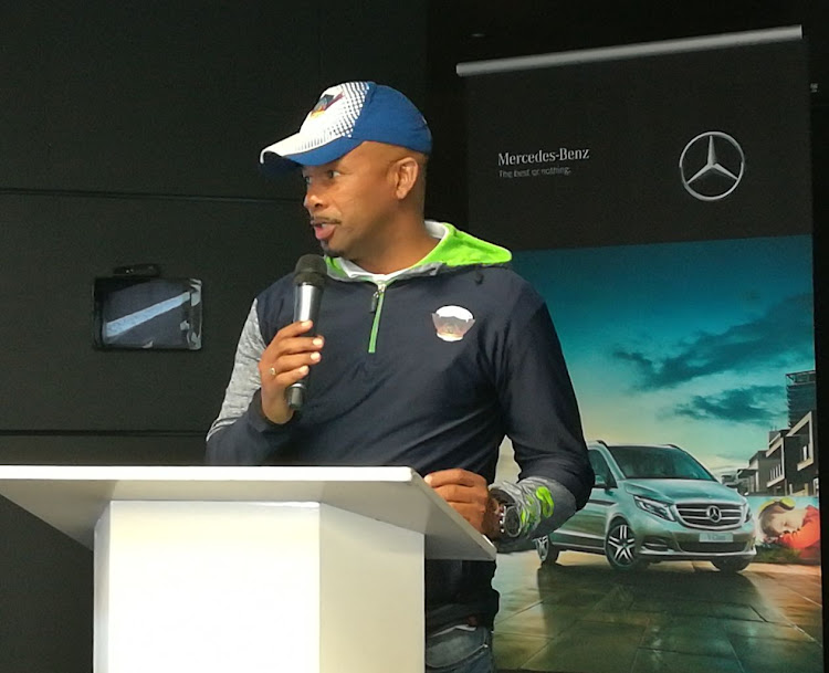 Chippa United head coach Teboho Moloi speaks during the club's partnership with Mercedes-Benz SA for the announcement of the New Year's Cup for amateur teams hosted by the PSL outfit and the motor vehicle manufacturing company in Centurion, Pretoria, on Friday 1 December 2017.
