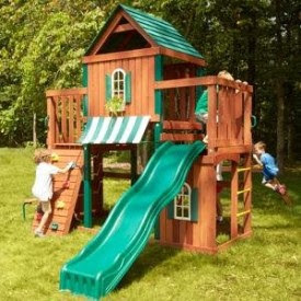 Wooden Swing and Play Set with Kids Playing