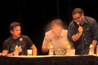 Photo: What we did at night - Nerdist podcast; Matt Mira, Jonah Ray (mid spit-take), and guest John Barrowman