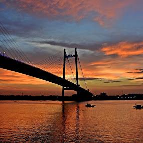 COLORFUL SUNSET by Ajit Kumar Majhi - Landscapes Sunsets & Sunrises ( sunset, architecture, bridge, boat, landscape, river,  )