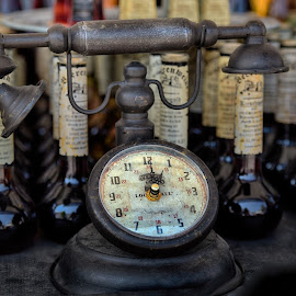 Telclock by Marco Bertamé - Artistic Objects Other Objects ( number, glass, pointer, round, steampunk, bottles, telephone, wood, clock, circle )