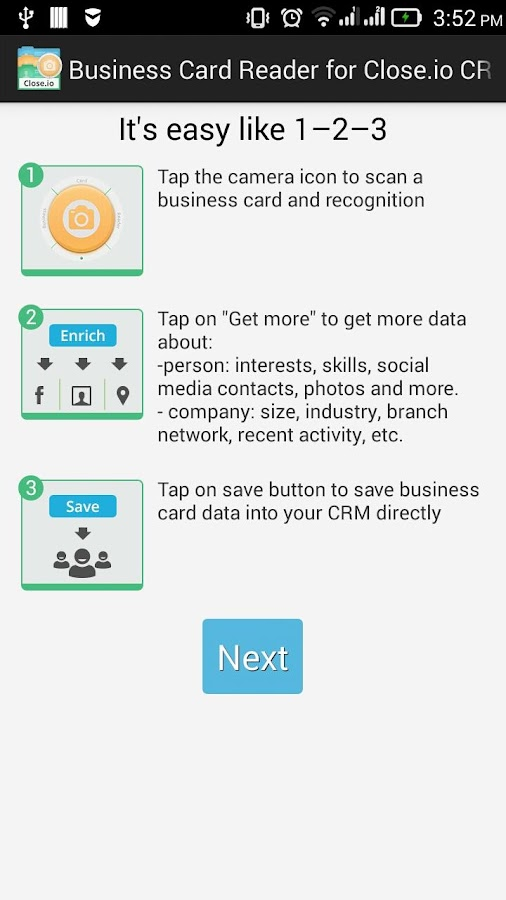 Free Business Card Reader for Close.io CRM- screenshot