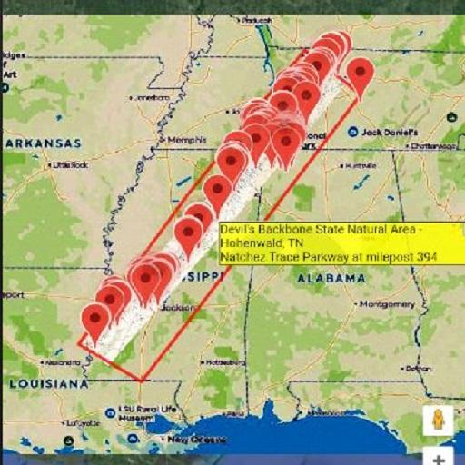 Natchez Trace Tour Maps Aligned Offline