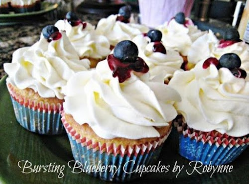"""Bursting Blueberry Cupcakes """"My youngest loves anything blueberry and I was proud..."""