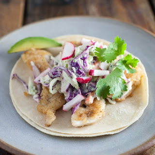 Fish Tacos with Spicy Cilantro Lime Slaw.