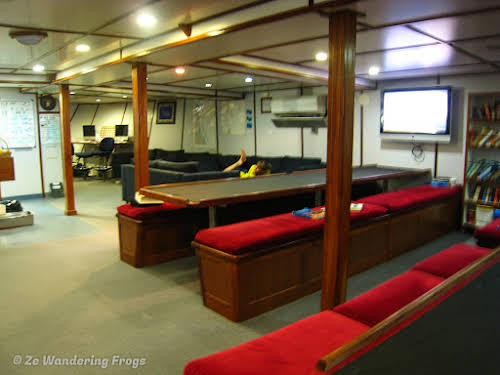 Australia Cairns Great Barrier Reef Liveobard Dive Boat Experience // Dining & Briefing Area