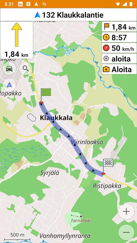 OsmAnd-navigointi Klaukkalassa