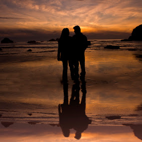 Reflecting Upon Love by Rachelle Crockett - People Couples ( love, sunset, shoreline, sea, couple, ocean, beach, romance, engagement )