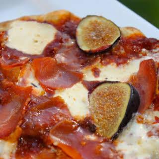 Grilled Prosciutto, Fig and Marinated Mozzarella Pizza.