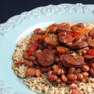 Slow Cooker Chicken Andouille Beans and Rice.