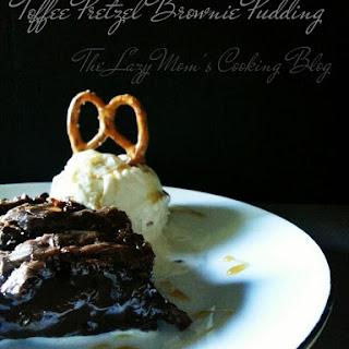 Toffee Pretzel Brownie Pudding