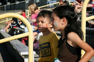 Photo: It was Junior Fan Club day, so they got in free, plus got face painting.
