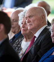 Photo: Sen. John Glenn and his wife Annie listen during a memorial service celebrating the life of Neil Armstrong, Friday, Aug. 31, 2012, at the Camargo Club in Cincinnati. Armstrong, the first man to walk on the moon during the 1969 Apollo 11 mission, died Saturday, Aug. 25. He was 82. Photo Credit: (NASA/Bill Ingalls)