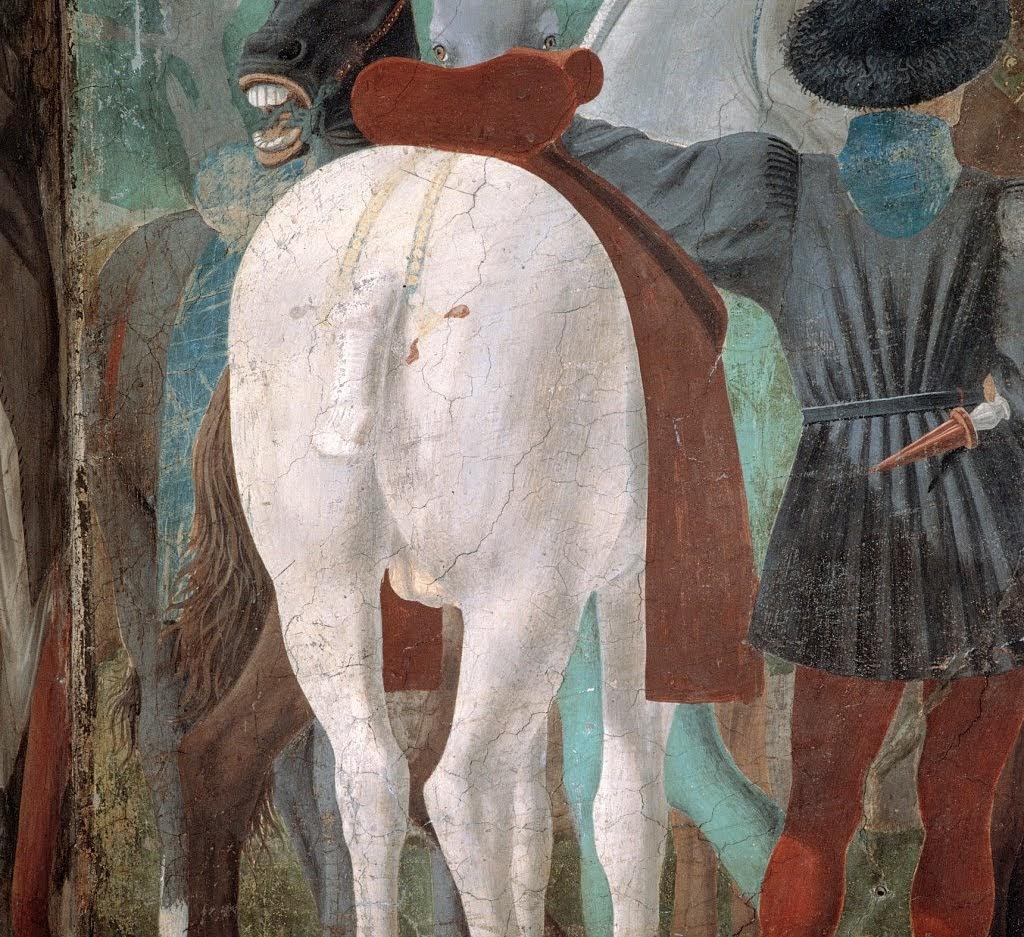 Piero della Francesca, Le Storie della Vera Croce, parete destra Adorazione della Croce (particolare giovani palafrenieri), Basilica di San Francesco, Arezzo
