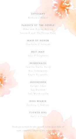 Floral Participants - Wedding Program item