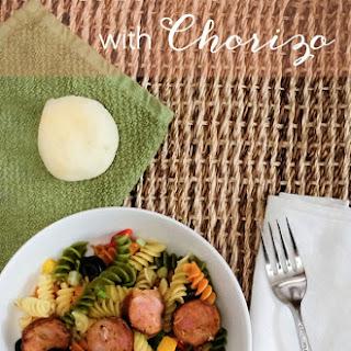 Tri-Color Rotini With Chorizo