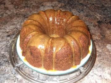 Fresh Apple & Black Walnut Cake with Caramel Glaze