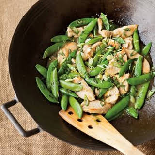 Stir-Fried Chicken with Sugar Snap Peas and Lemon.