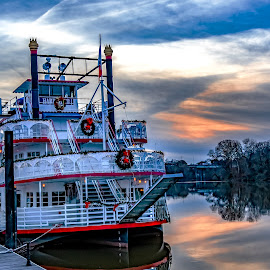 Harriot II decked out for Christmas  by Jackie Nix - Transportation Boats ( capital, entertainment, reflections, dusk, craft, tourism, winter, watercraft, holiday, riverboat, colors, high dynamic range, red, white, vacation, season, dock, park, sky, alabama, alabama river, water, wreath, christmas, boat, outdoor, orange, attraction, blue, sunset, hdr, montgomery, riverfront park, cruise, tourists, river, travel, colorful,  )