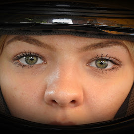 biker girl by Bojan Dobrovodski - People Portraits of Women ( biker girl, helmet dark motors bike )
