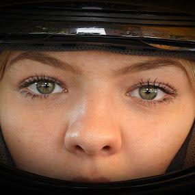 biker girl by Bojan Dobrovodski - People Portraits of Women ( biker girl, helmet dark motors bike )
