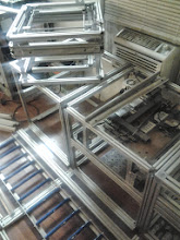 Photo: Mill Module in the lower right, Ultimaker module in the upper left, pallet movers lower left
