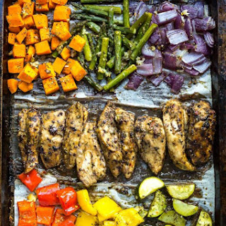 Blueberry Balsamic Sheet Pan Chicken.