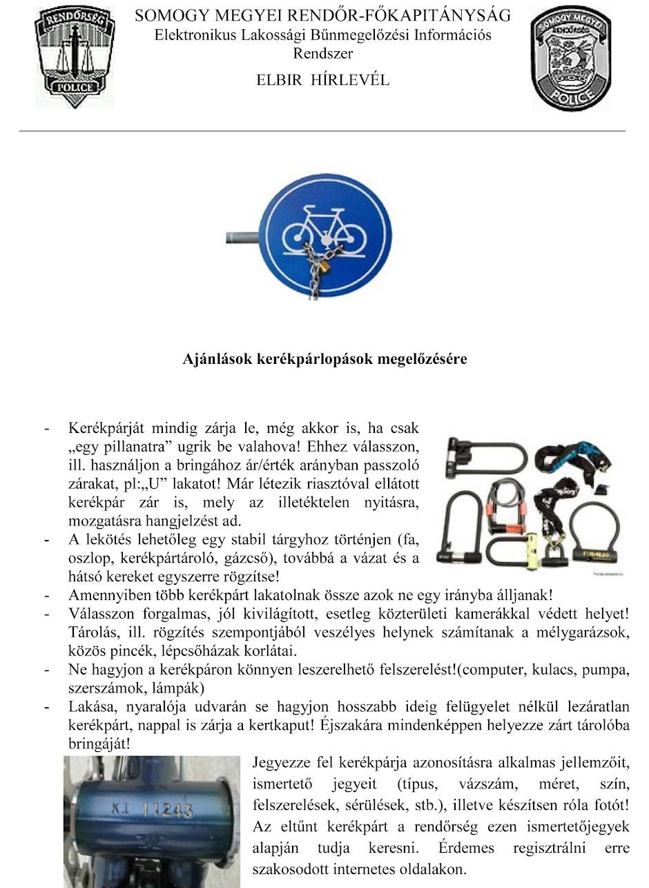 Kerékpár lopások megelőzése