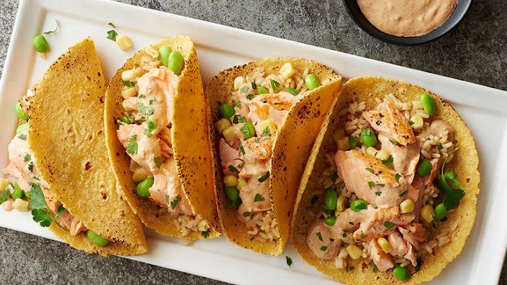 Salmon Fish Tacos with a Spicy Tomato Cream Sauce Recipe